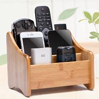 创意竹质遥控器收纳盒客厅多功能桌面收纳盒杂物收纳盒