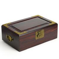红木首饰盒 紫檀木首饰盒子结婚大号首饰盒 两层仿古铜锁送朋友礼品