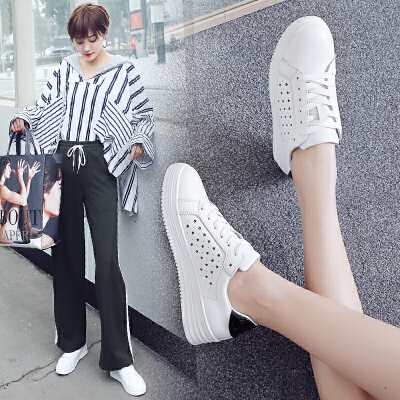 ZHR2018春季新款韩版小白鞋平底1992鞋子厚底单鞋休闲鞋真皮女鞋G186