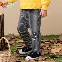 贝贝怡男童裤子秋冬款新款宝宝加绒保暖帅气条纹外穿长裤194K473