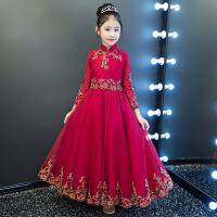 儿童礼服公主裙蓬蓬纱女童晚礼服小主持人花童婚纱长袖钢琴演出服