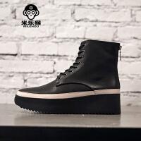 米乐猴 潮牌新品个性厚底增高5CM头层牛皮靴子男鞋松糕鞋短靴拉链马丁靴男鞋