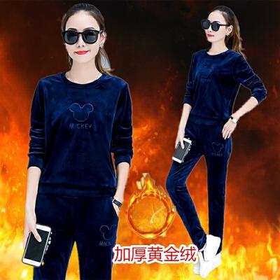 套装女士新款韩版冬季金丝绒加厚保暖大码长裤休闲运动服两件套潮 蓝色 双层加绒加厚 发货周期:一般在付款后2-90天左右发货,具体发货时间请以与客服协商的时间为准