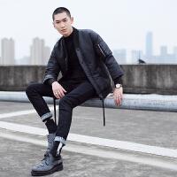 男装 冬 简约潮无领个性棉袄 时尚潮英伦 棉衣男外套