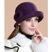 秋款冬季帽子女 紫百合公主英伦复古潮礼帽冬天羊毛呢女士帽子