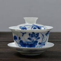 三才碗杯敬茶碗泡茶壶茶杯青花瓷盖碗茶备陶瓷茶具