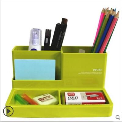 得力正品多功能笔筒可爱创意时尚学生简约笔桶桌面办公用品收纳盒文具插笔筒多格抽屉笔筒