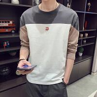 2019春季新款男士韩版潮流小衫长袖T恤学生纯棉圆领打底衫男衣服