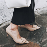 彼艾2018春新款时尚真皮尖头细跟高跟鞋女气质金属方扣浅口单鞋气质女鞋