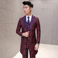 男士新款男士韩版修身暗花西服三件套装潮流青年气质中长款套装