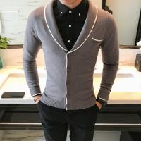 秋装新品潮男修身翻领针织开衫男士潮流线衫男毛衣开衫外套