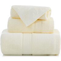 三利 长绒棉加厚缎档方巾/毛巾/浴巾三件套礼盒装