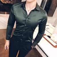 新款2018秋装男士修身丝光长袖衬衫韩版纯色上班西装衬衣男装上衣