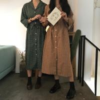 春装2018新款韩版女装显瘦七分袖格子衬衫连衣裙系带中长裙学院风