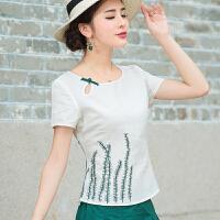 2017夏装新款 中国风女装棉麻上衣夏绣花民族风盘扣短袖修身T恤女
