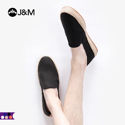 jm快乐玛丽2019春季新品素面平底纯色套脚休闲平底男鞋子