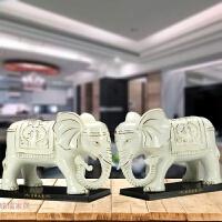 陶瓷大象摆件一对吉祥象办公室家居饰品开业礼品 描金款
