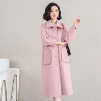 粉色毛呢外套女中长款韩版秋冬女装气质显瘦人字纹尼大衣 粉色