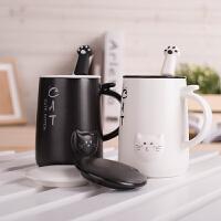 创意简约马克杯带盖勺可爱杯子陶瓷牛奶咖啡杯韩版女学生潮流水杯