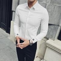 2018男士潮流长袖潮流春季韩版发型师长袖衬衫社会人夜店绣花