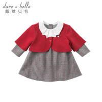 davebella戴维贝拉女童秋装2018新款连衣裙套装 宝宝两件套DB8524