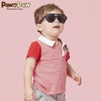【3件3折 到手价:137】Pawinpaw卡通小熊童装夏款男宝宝撞色短袖T恤婴幼儿POLO衫