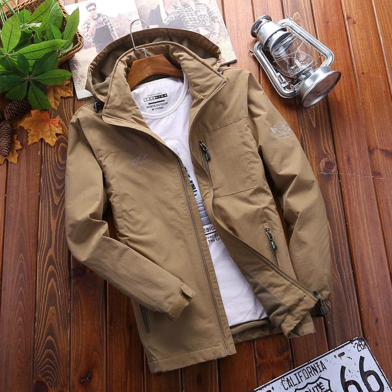 摇粒绒男加绒加厚大码棉衣外套青中年秋冬季保暖棉袄子大码外套