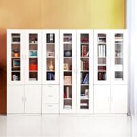 百意空间定制书柜组合 简约现代多功能置物柜文件柜 书房收纳柜 玻璃门可带抽屉