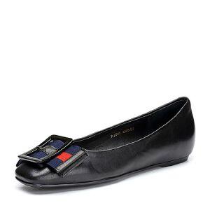BASTO/百思图2018春季专柜同款羊皮蝴蝶结舒适浅口平跟女皮鞋RJU20AQ8