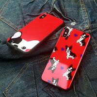 苹果6plus手机壳抖音同款iphone8plus保护套大红狗年6玻璃壳全包7手机套x卡通外壳8潮牌女Xs Max男7