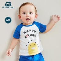 【8.19日2件3折价:23.7】迷你巴拉巴拉婴儿短袖纯棉T恤2019夏季新品童装男宝宝透气体恤衫