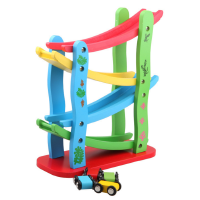 滑滑车 滑梯车轨道飞车 男宝宝玩具木制四层急速滑翔车