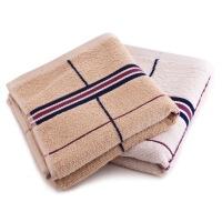 三利 家纺精梳棉系列缎档格纹毛巾双条装