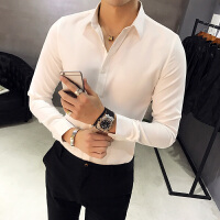 春季新品型男长袖衬衣韩版修身青年纯色百搭衬衫男士时尚工装