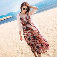 沙滩裙女中长款2018新款夏两件套吊带波西米亚长裙海边度假连衣裙 +粉色披肩