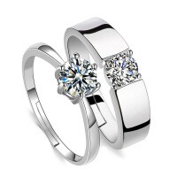闭口仿真钻戒开活口结婚男女情侣戒指925银镀白金一对婚礼对戒 活口一对两个戒指不带盒子 男女各一个活口的