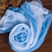淡蓝色渐变色 长款 丝巾围巾女百搭纱巾春秋夏季保暖丝巾