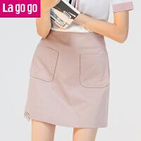 【5折价64.5】Lagogo2017秋季新款百搭纯色口袋高腰夏秋半身裙A字裙短款裙子女