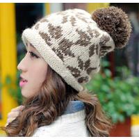 女秋冬天 户外女士毛线帽 雪花球球冬季保暖针织帽子