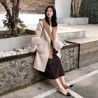 2018冬季羊绒大衣女中长款韩版宽松连帽马甲毛呢外套俩件套 米白色 X