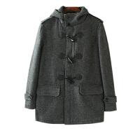姐姐优品 男装外套冬季2017韩版 纯色单排扣连帽领灰色毛呢大衣男
