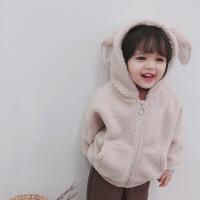 2018新款冬装女童外套宝宝儿童毛毛衣加绒加厚韩版连帽可爱上衣