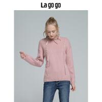 【5折价251】Lagogo拉谷谷2018冬新款长袖圆领毛衣宽松粉色针织衫女HCMM43XA22
