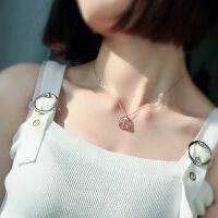 水晶项链女锁骨链满天星链925银草莓晶粉晶