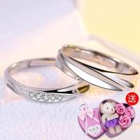 925银对戒男女情侣钻戒钻石戒指一对日韩潮人学生饰品
