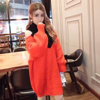 韩版甜美2018秋冬新款时尚漏肩大V领高领宽松泡泡袖打底毛衣短裙