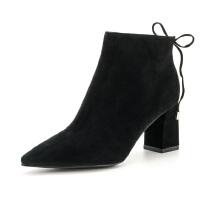 St&Sat/星期六冬短靴羊反绒尖头粗高跟女靴子SS74116106