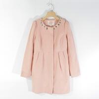 CA0833女装精品秋冬新款单排隐形扣镶钻圆领显瘦纯色中长毛呢外套