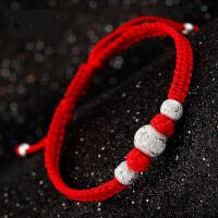 99银红绳情侣手链一对可刻字男女本命年转运珠编织手绳简约银饰