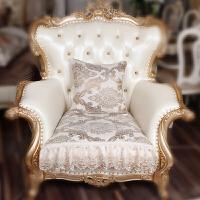 欧式沙发垫布艺防滑蕾丝沙发巾套靠背巾四季通用夏季坐垫定做 黄色 米黄色